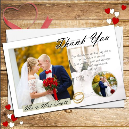 10 Personalised Elegant Champagne Wedding Thank you PHOTO cards N218
